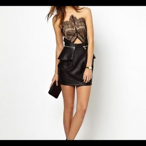 Three Floor Black and Nude/Leather skirt dress